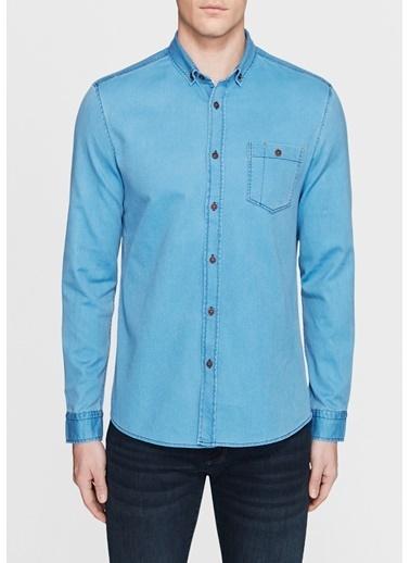 Mavi Tek Cepli Jean Gömlek İndigo